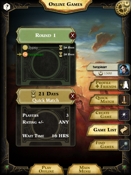 lords of waterdeep online menu