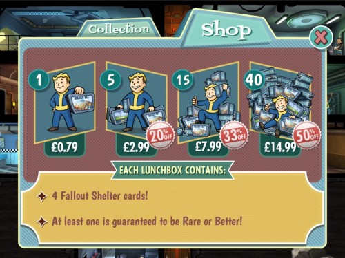 Fallout shelter -  purchases