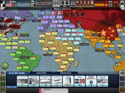 iPad gameplay of Twilight Struggle